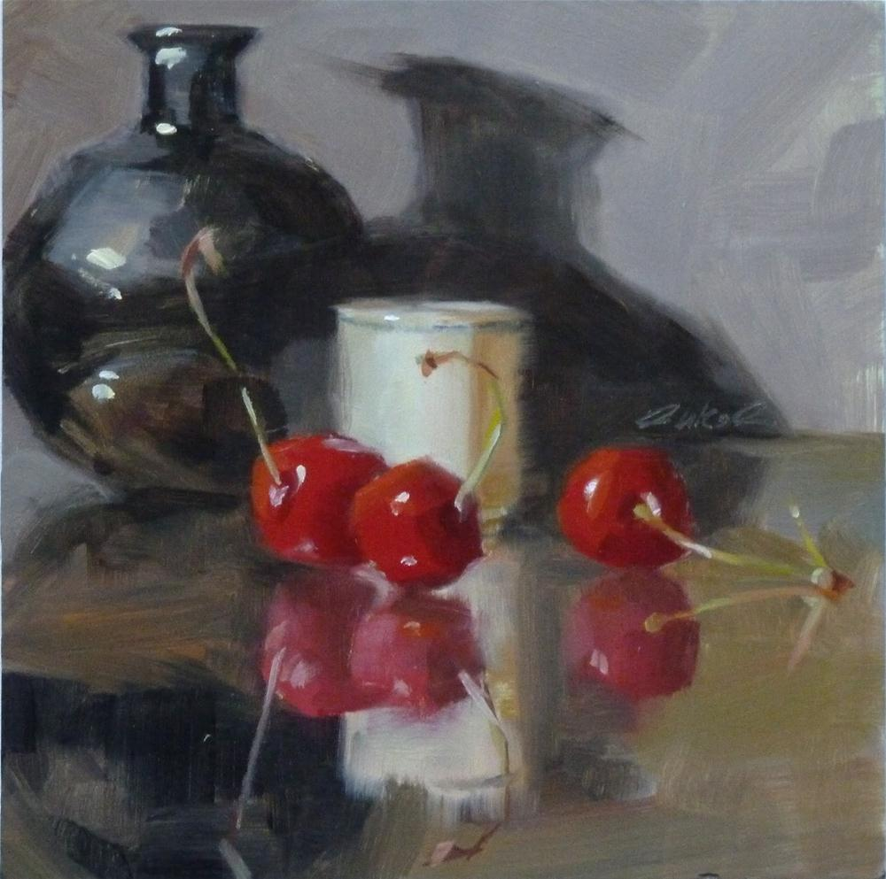 """Black Vase & Cherries"" original fine art by Ron Ferkol"