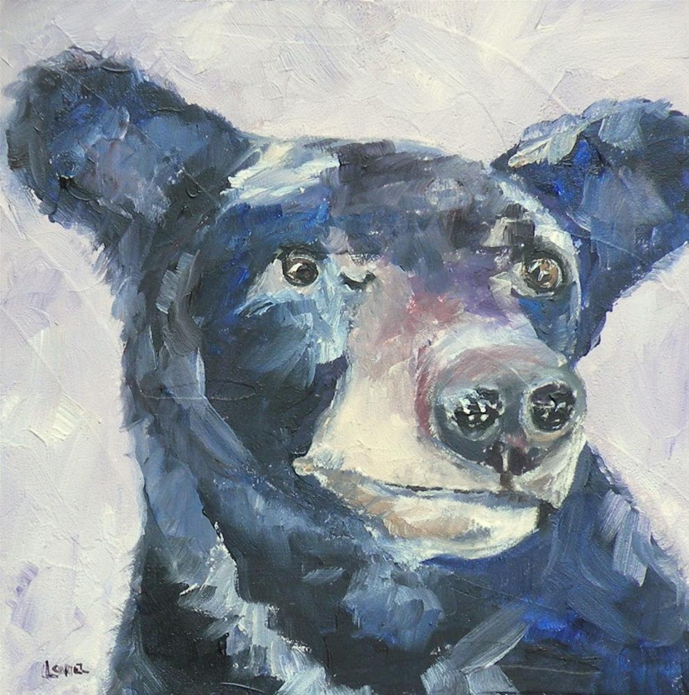 """BUSTER B A BEAR; ORIGINAL 4X4 OIL ON PANEL FOR MY ETSY SHOP AND CURTAIN UPDATE © SAUNDRA LA"" original fine art by Saundra Lane Galloway"