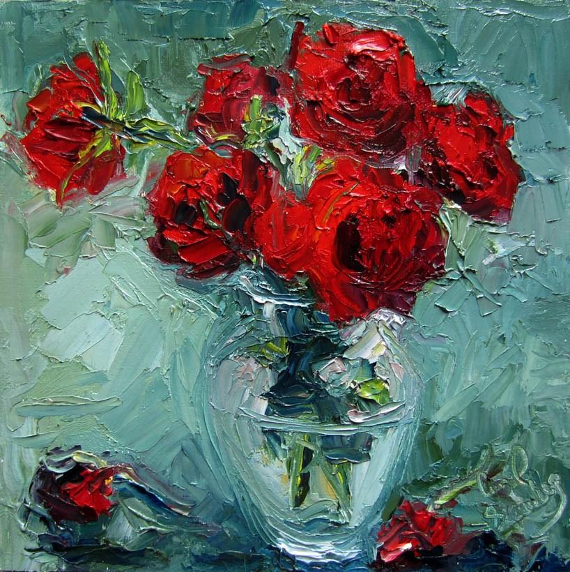 """Red Roses, Green Ground"" original fine art by Carol Steinberg"