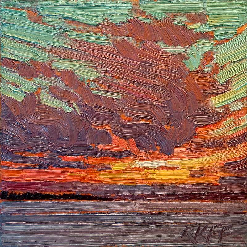 """Sunset Over Frozen Lake: 6x6 oil on panel"" original fine art by Ken Faulks"