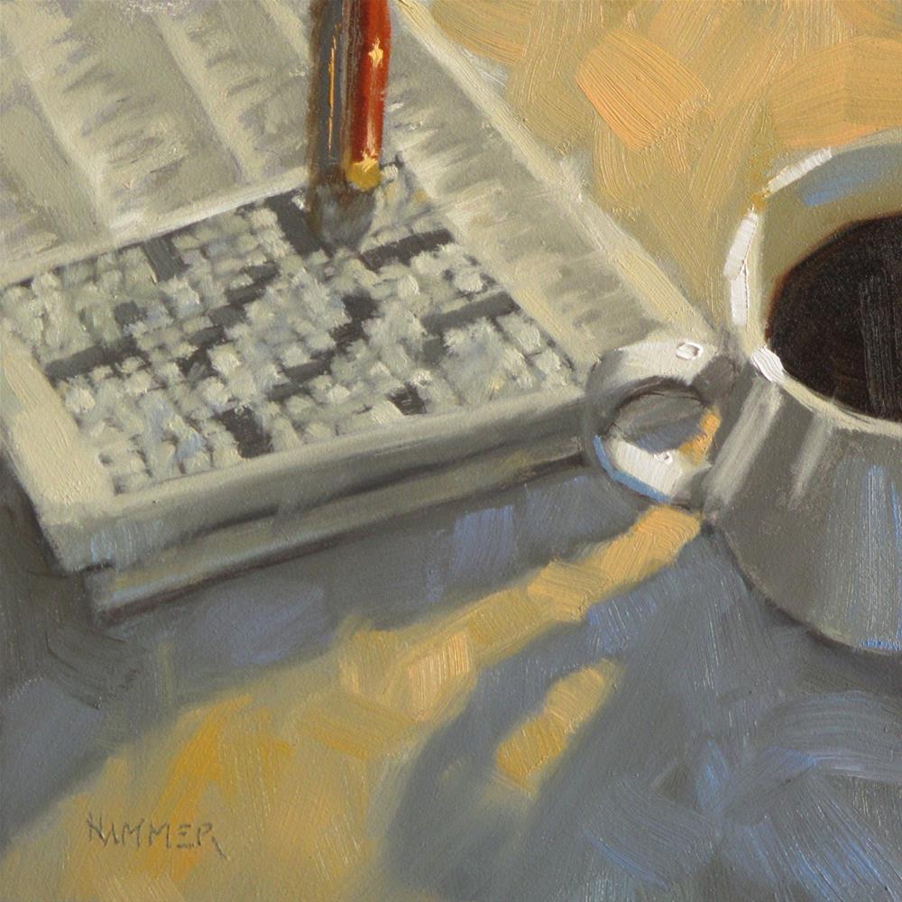 """Morning Crossword  6 x 6  oil"" original fine art by Claudia Hammer"