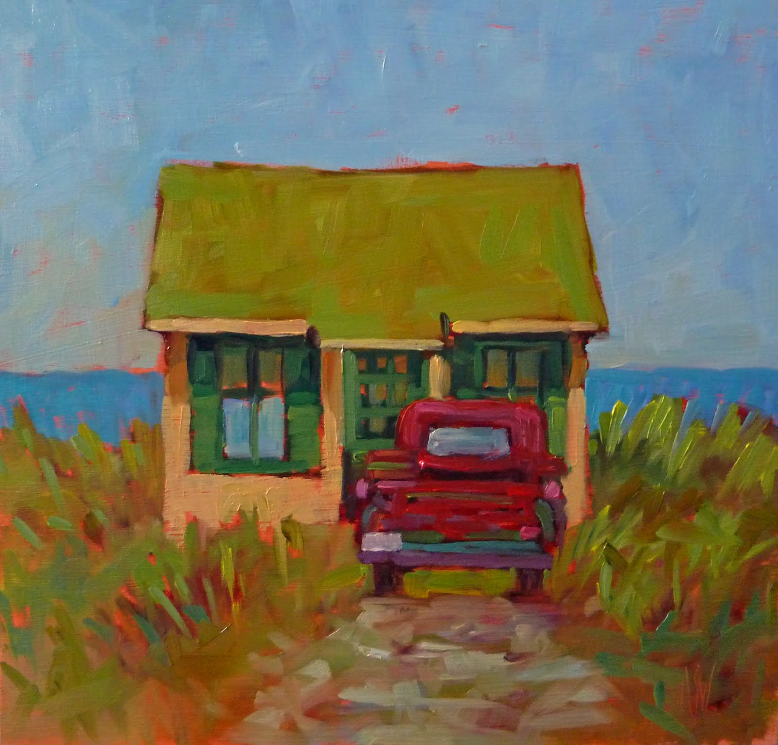 """Provincetown Shed 12x12 oil on Birch Panel This is an iconic cottage in Truro, MA."" original fine art by Mary Sheehan Winn"