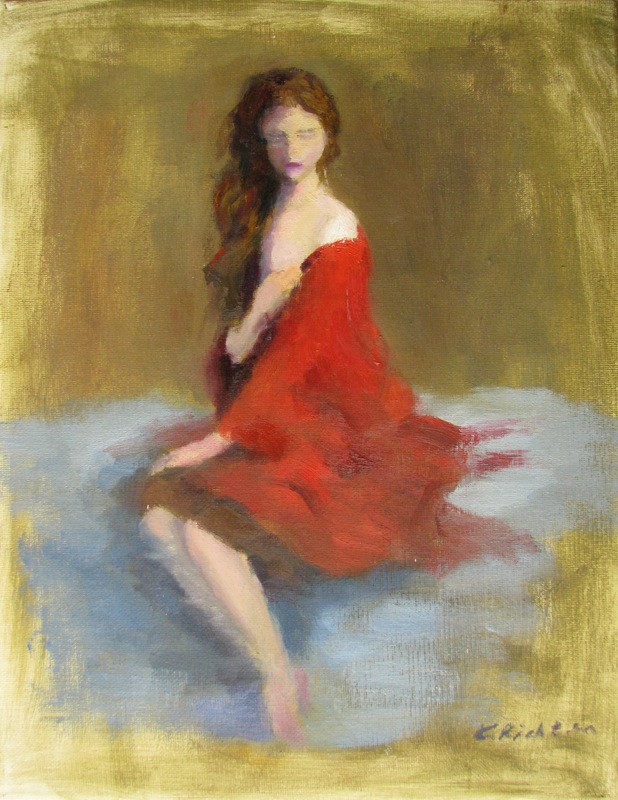 """In Crimson"" original fine art by Keiko Richter"