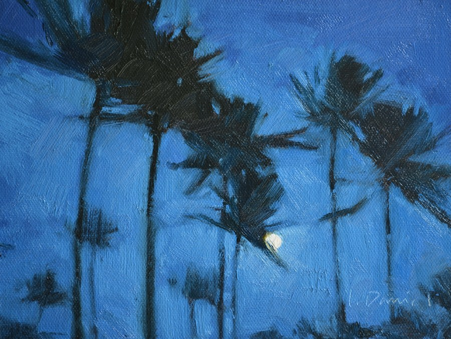 """Tropical Moon"" original fine art by Laurel Daniel"