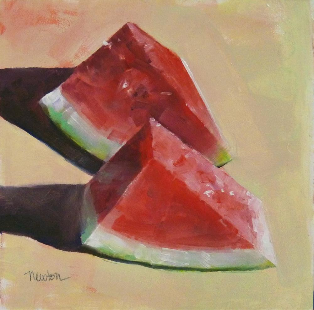 """Watermelon Time"" original fine art by Barbara Benedetti Newton"