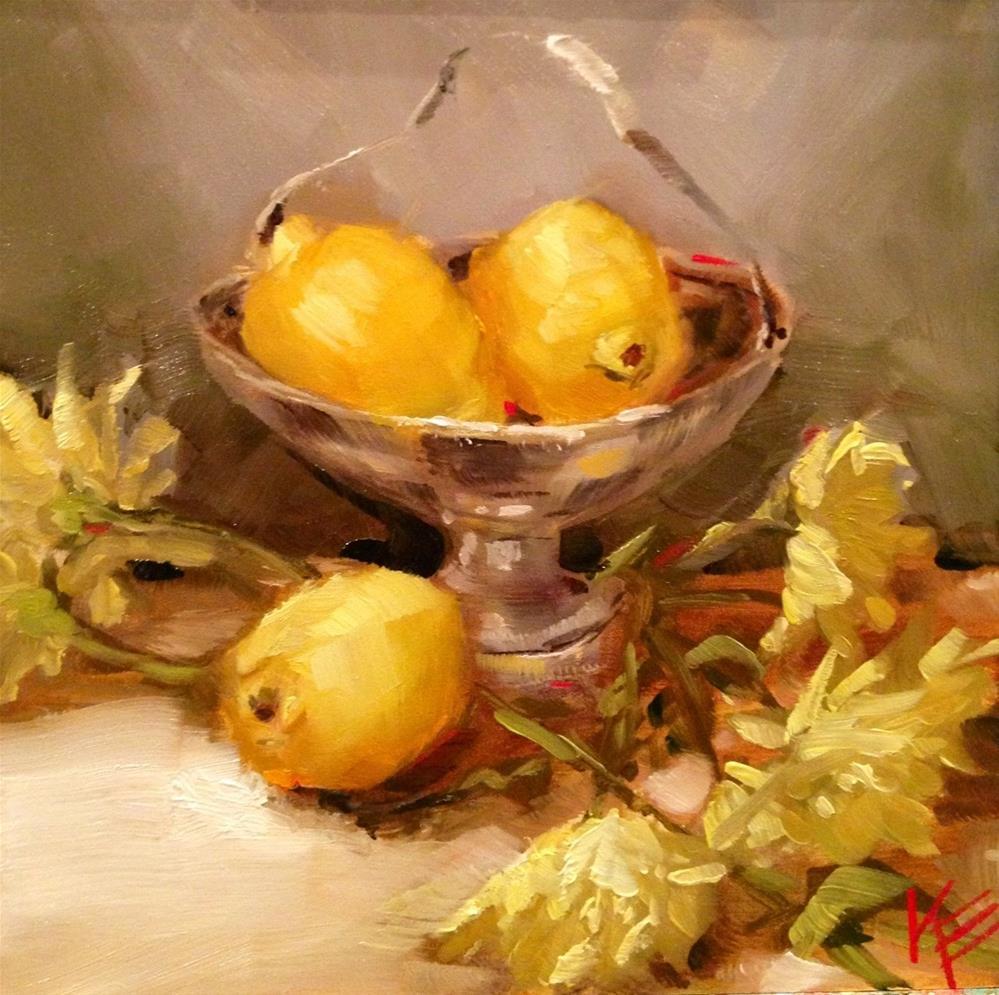 """Lemons & Daisies"" original fine art by Krista Eaton"