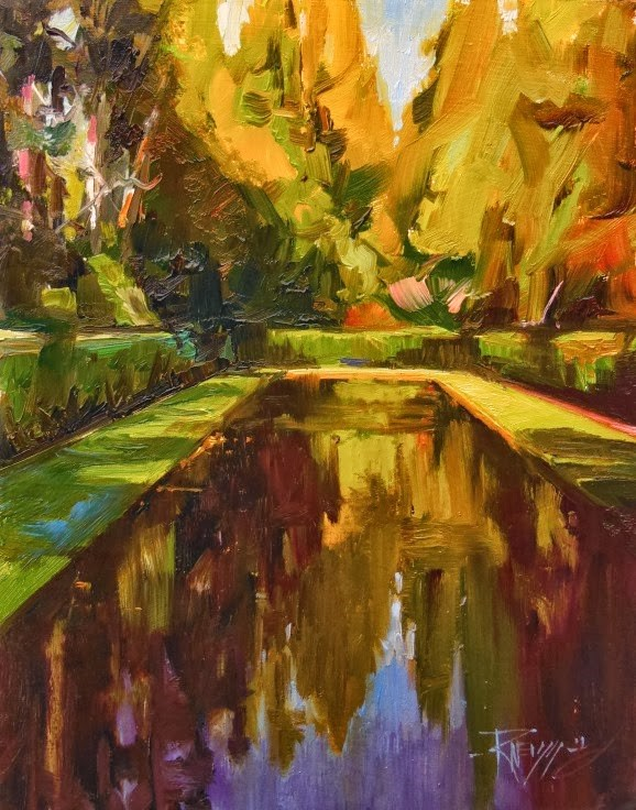 """Quiet Reflection from the Bloedel Reserve, plein air, oil, landscape painting by Robin Weiss"" original fine art by Robin Weiss"