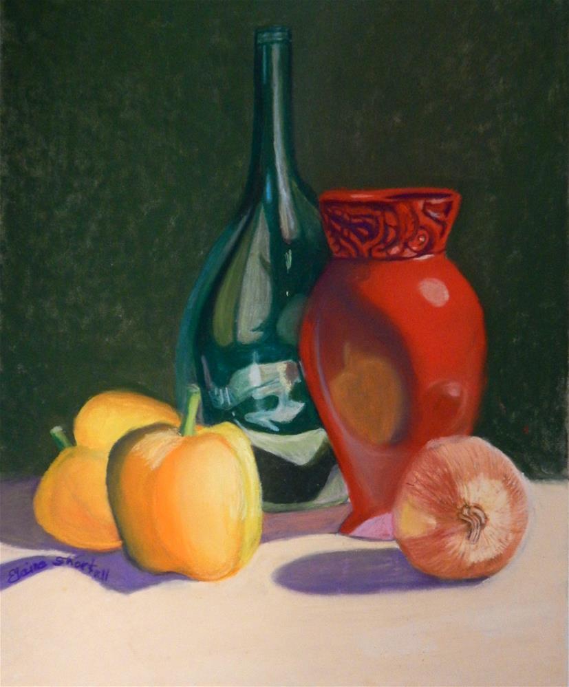 """""""Red Vase, Green Bottle"""" original fine art by Elaine Shortall"""