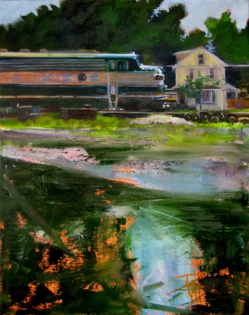 """Passing Through Orville  trains in the landscape , daily oil painting"" original fine art by Robin Weiss"