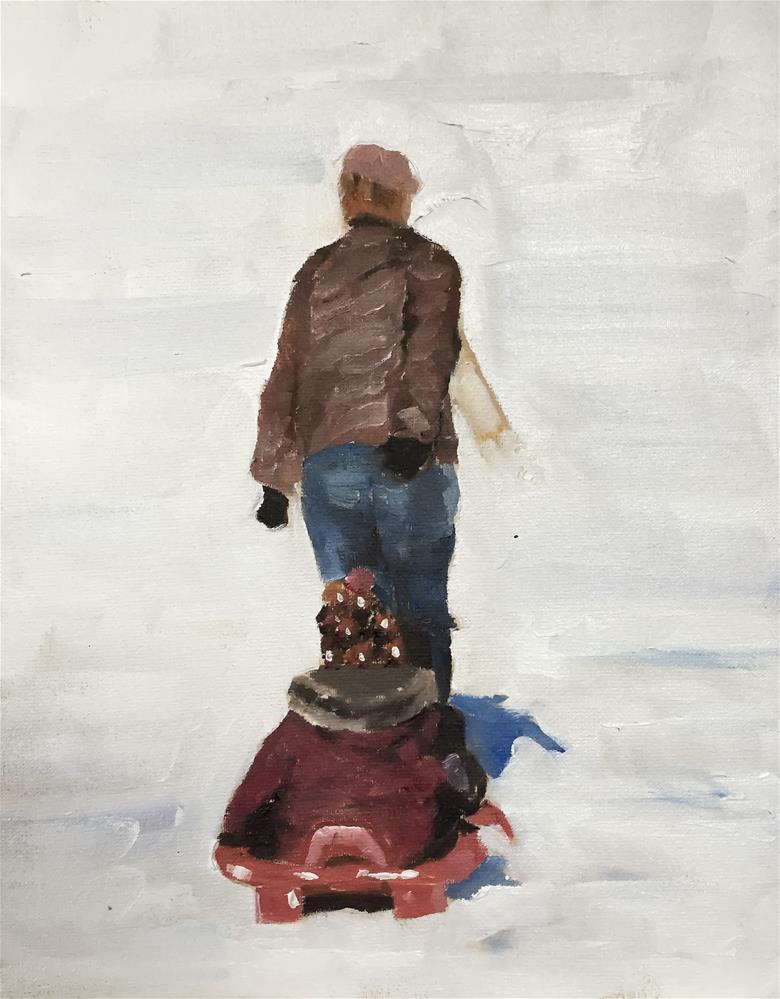"""""""Sledging"""" original fine art by James Coates"""