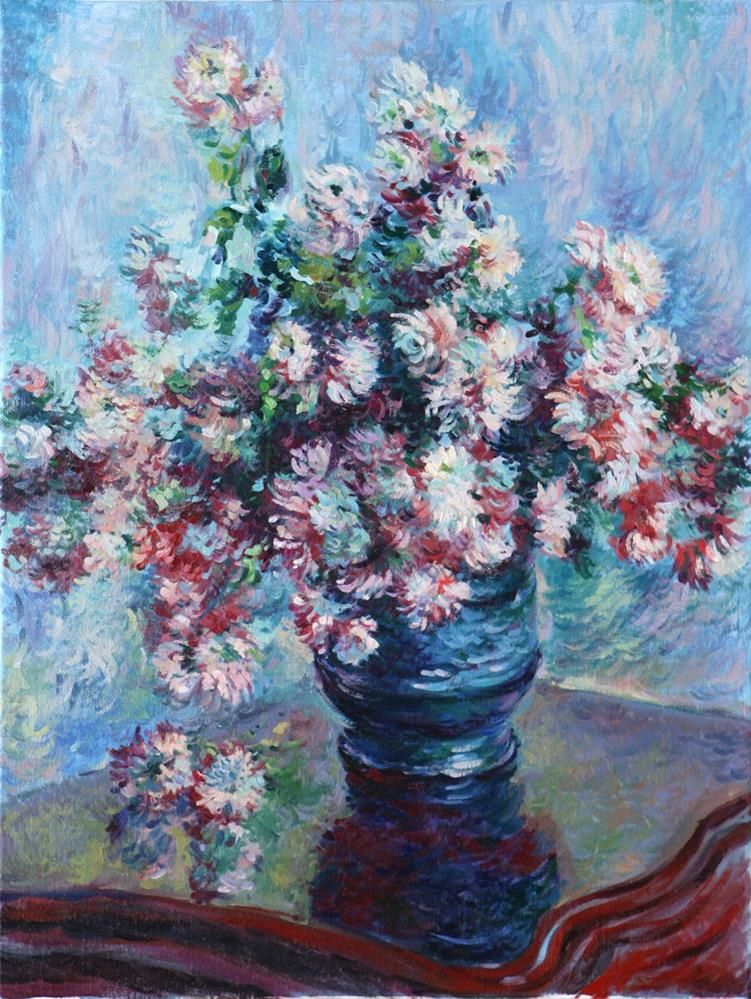 """Copy of Impressionist painter Claude Monet's still life painting of Chrysanthemums."" original fine art by Larisa Nikonova"