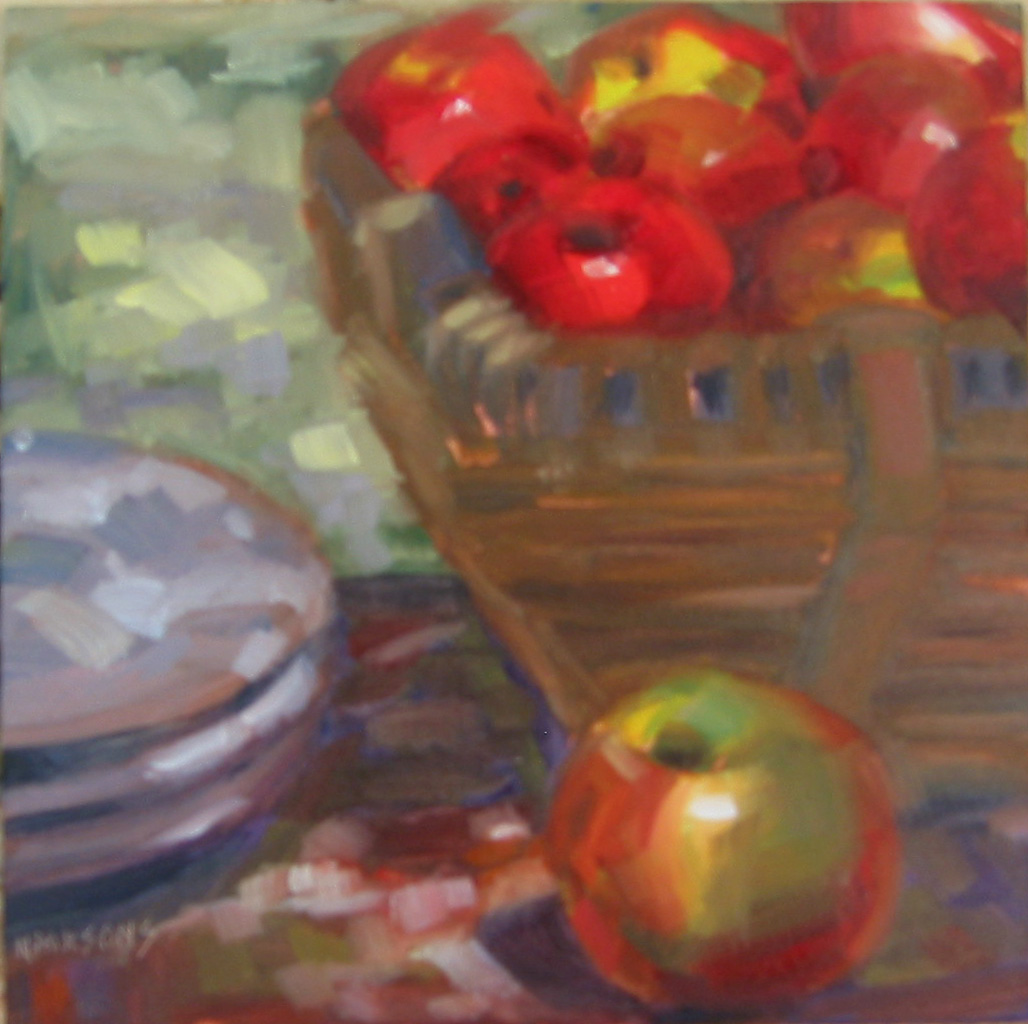 """Apple Overboard"" original fine art by Nancy Parsons"