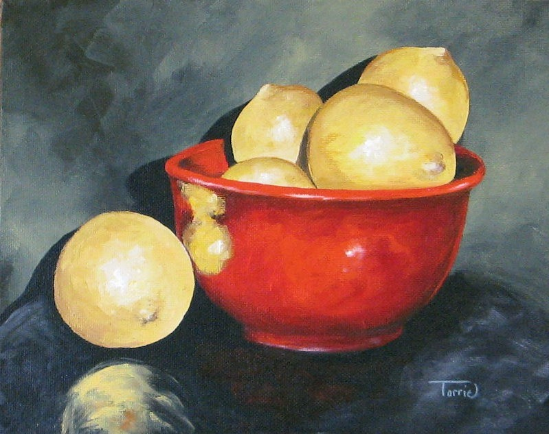 """Lemons and Red Bowl IV"" original fine art by Torrie Smiley"