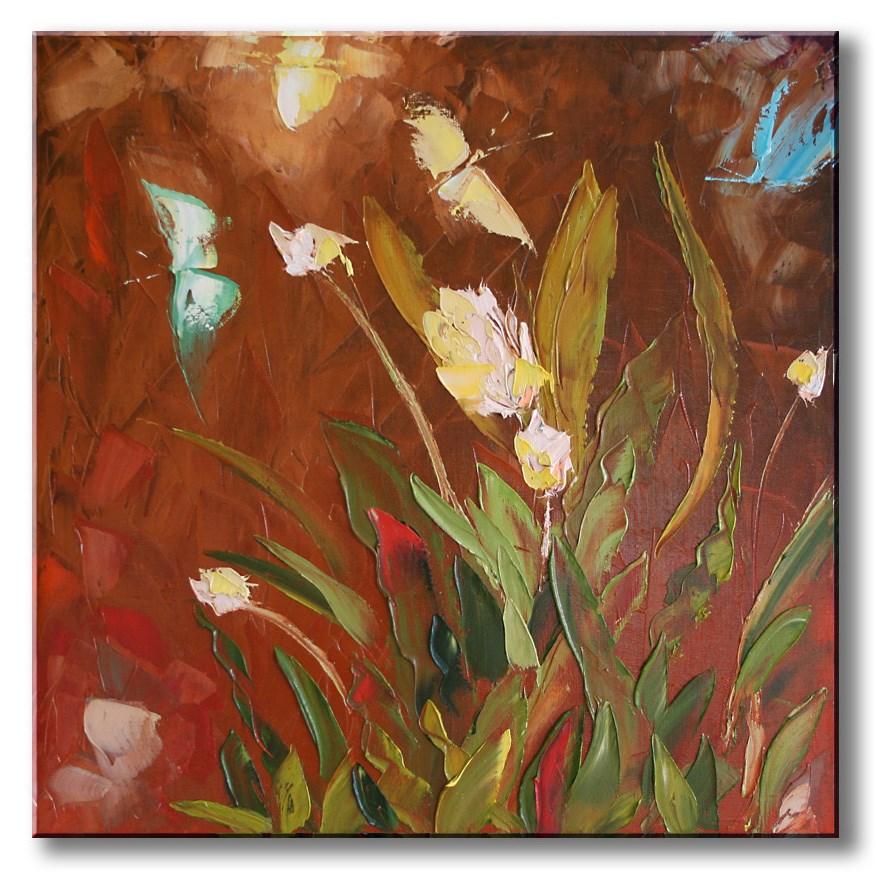 """Flowers and the butterfly"" original fine art by Elena Lunetskaya"