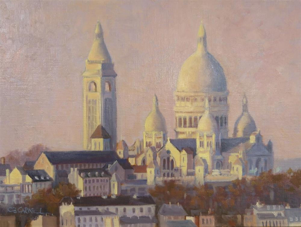 """SOLD 'First Night in Paris (Sacre Coeur)' Il a Commencé à Paris Series An Original Oil Painting by C"" original fine art by Claire Beadon Carnell"