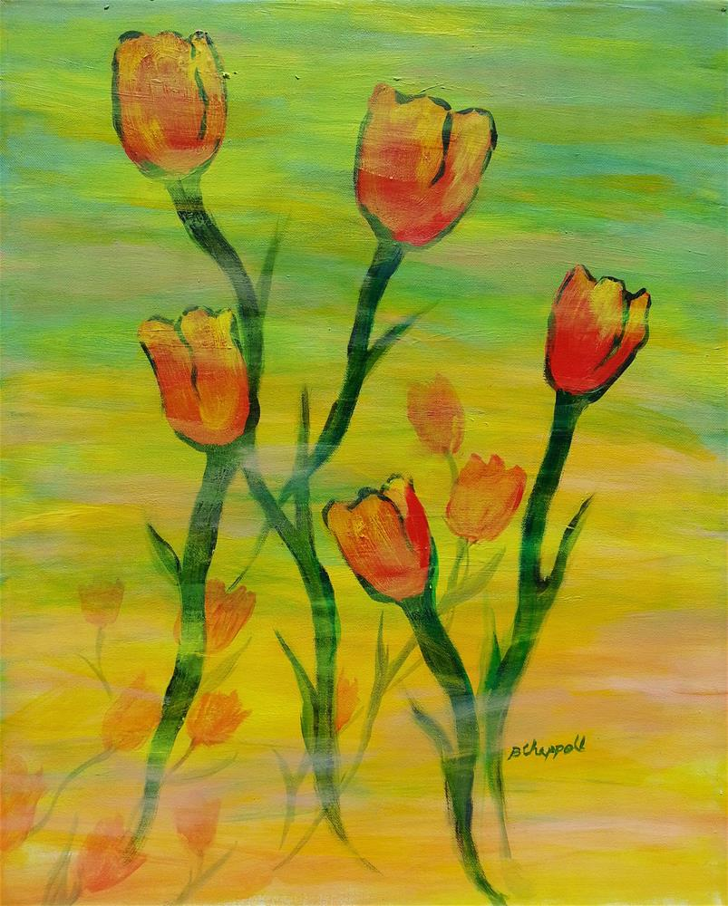 """Dancing Tulips"" original fine art by Becky Chappell"