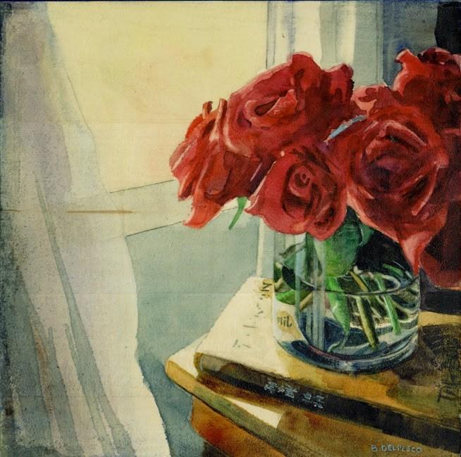 """Watercolor: Reach for the Sun (& the Women Painting Women exhibit at Principle Gallery)"" original fine art by Belinda Del Pesco"