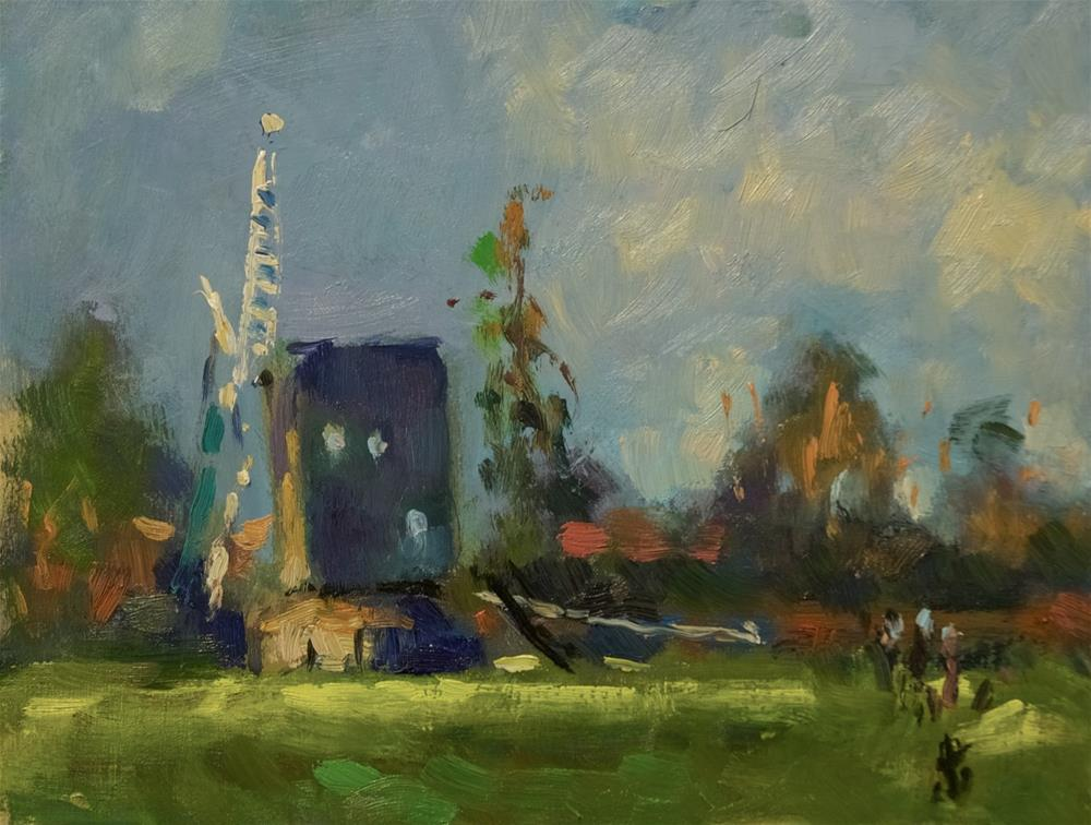 """Windmill at High Salvington"" original fine art by Andre Pallat"