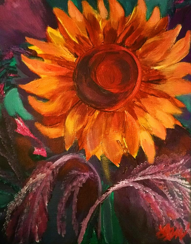 """Fall Sunflower"" original fine art by Leni Tarleton"