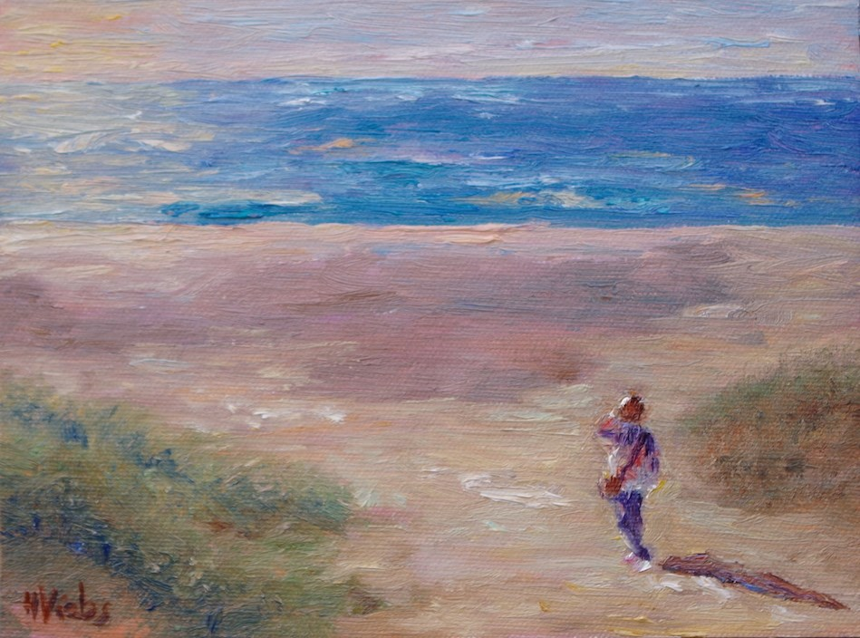 """Taking it In on Todos Santos Beach"" original fine art by Helen Viebrock Hamel"