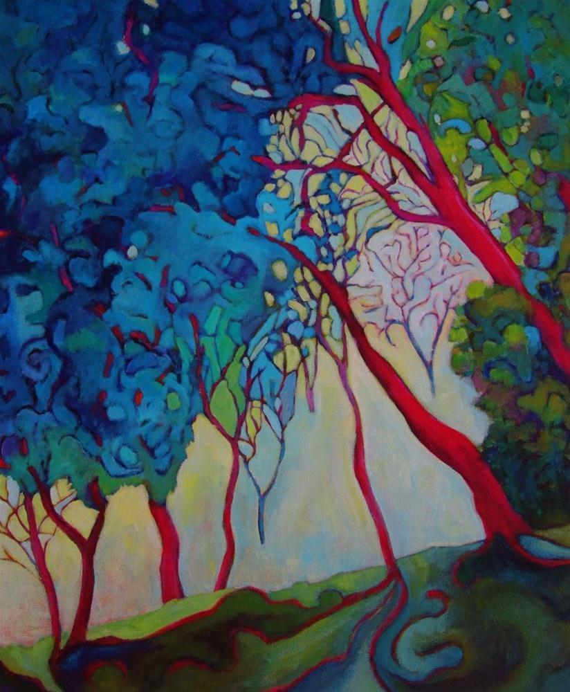 """""""Red Trees at les Bassacs"""" original fine art by Patricia MacDonald"""