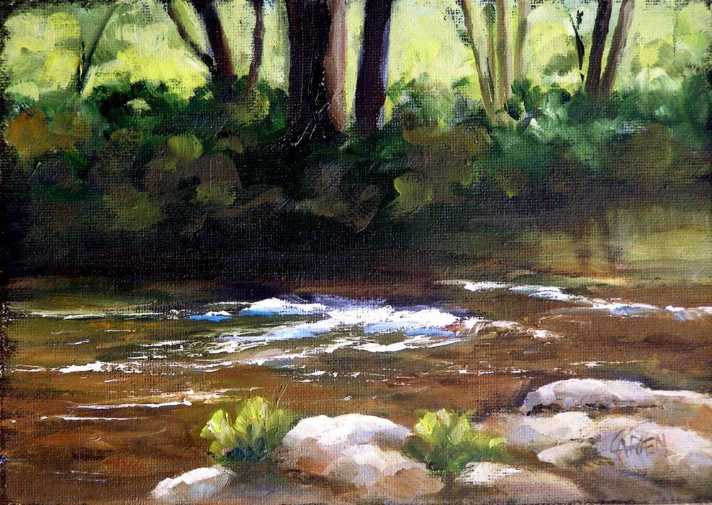 """""""Mountain Stream, 5x7 Oil on Board"""" original fine art by Carmen Beecher"""
