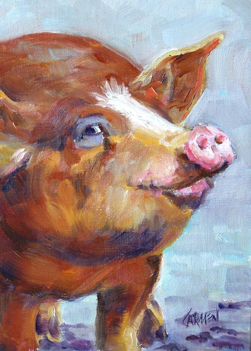 """Smiling Pig"" original fine art by Carmen Beecher"