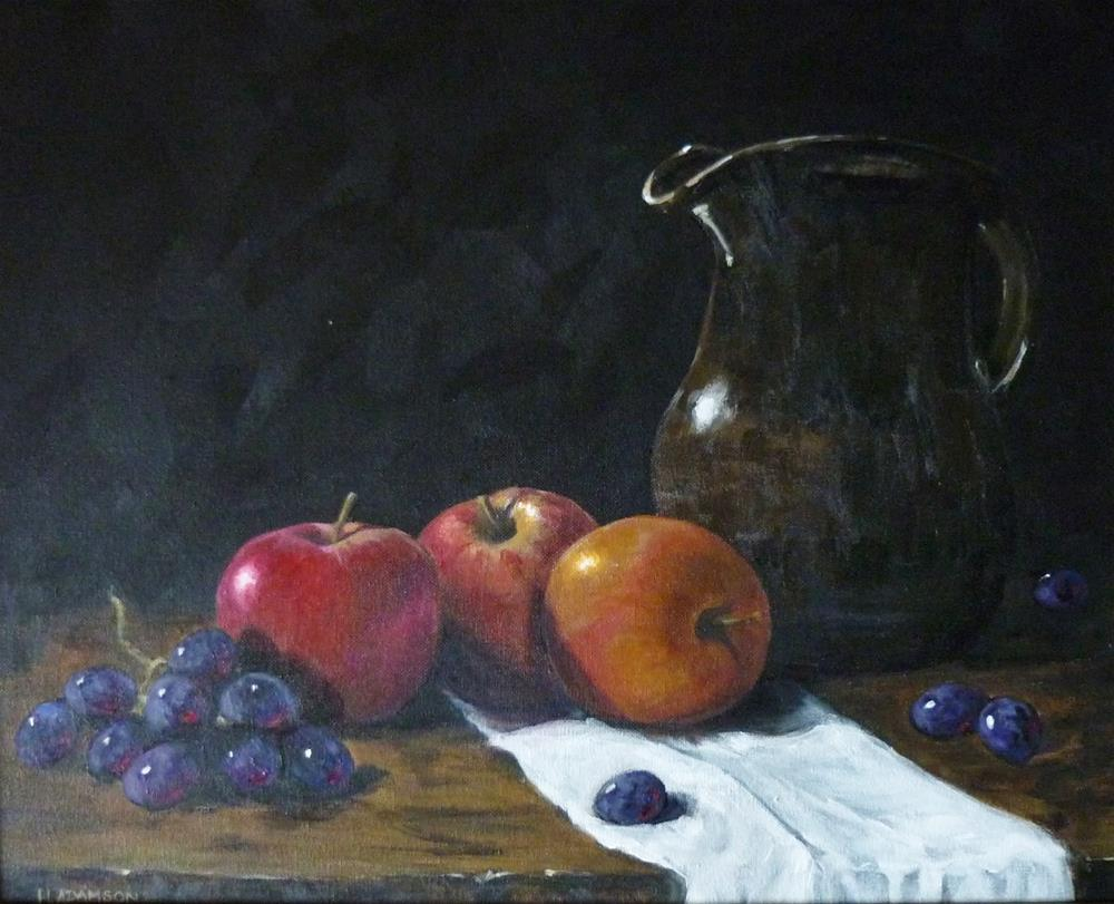 """Apples with Brown Jug and friends"" original fine art by Helene Adamson"