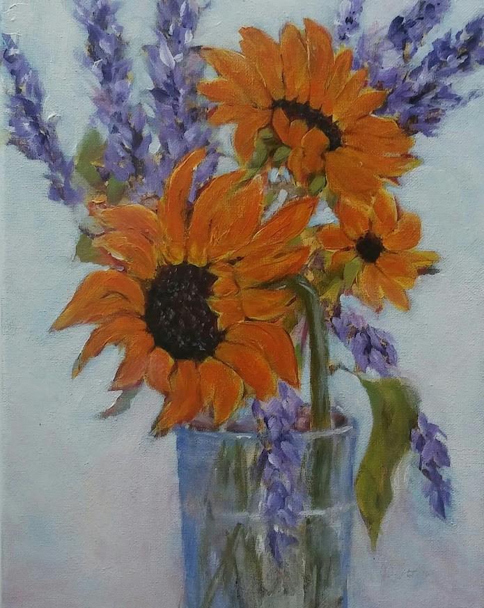 """Sunflowers"" original fine art by Cathy Dykstra"