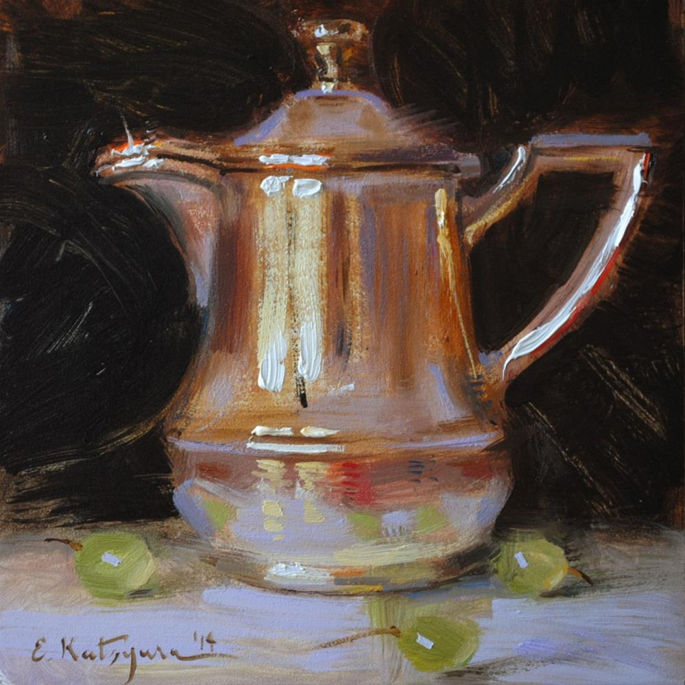 """Silver Creamer and Grapes"" original fine art by Elena Katsyura"
