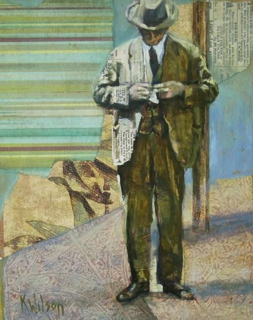 """Man Looking Down"" original fine art by Katie Wilson"