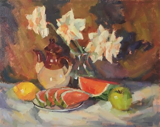"""Still Life with Watermelon with Daffodils"" original fine art by Katia Kyte"