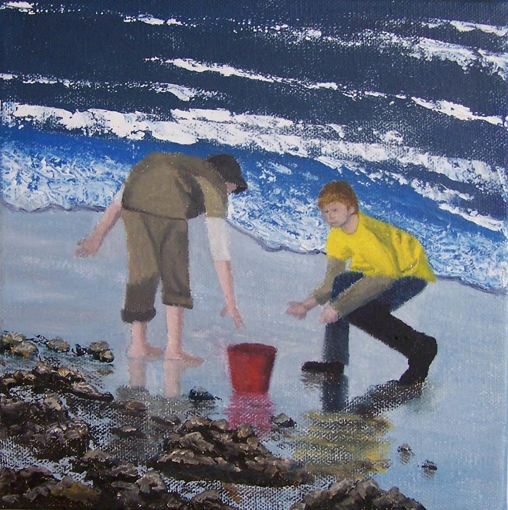 """Beachcombers"" original fine art by John Marcum"