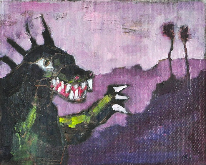 """Godzilla Attacking the San Diego Suburbs"" original fine art by Kevin Inman"