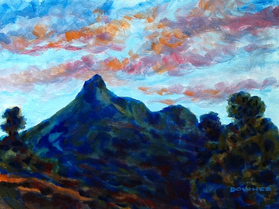 """089 MOUNT WARNING 22"" original fine art by Trevor Downes"