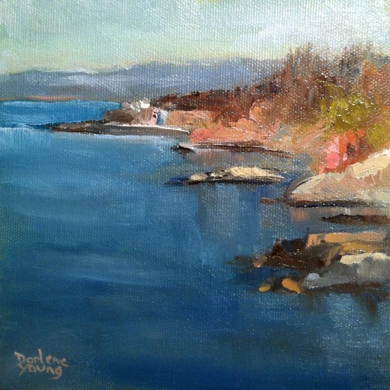 """Dallas Road Beach Scene, oil on board, 6x6"" original fine art by Darlene Young"