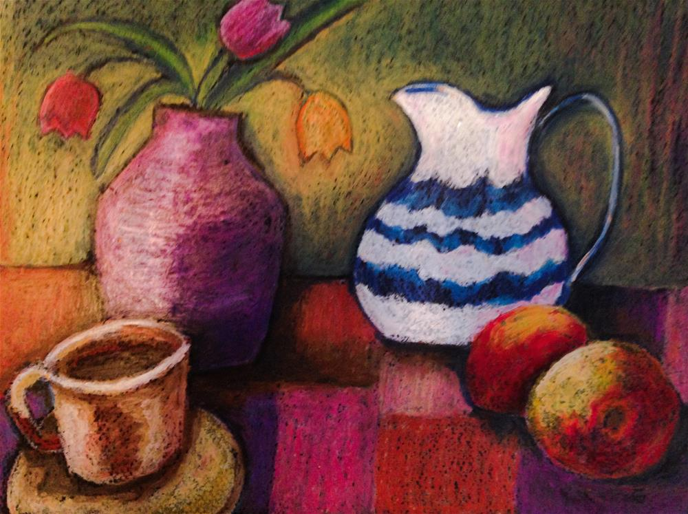 """Coffee cup, apples, and flowers"" original fine art by Giovanni Antunez"