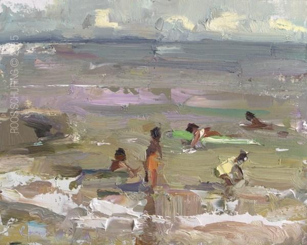 """Seascape Pleinair Natural Tones Peaceful Beach"" original fine art by Roos Schuring"