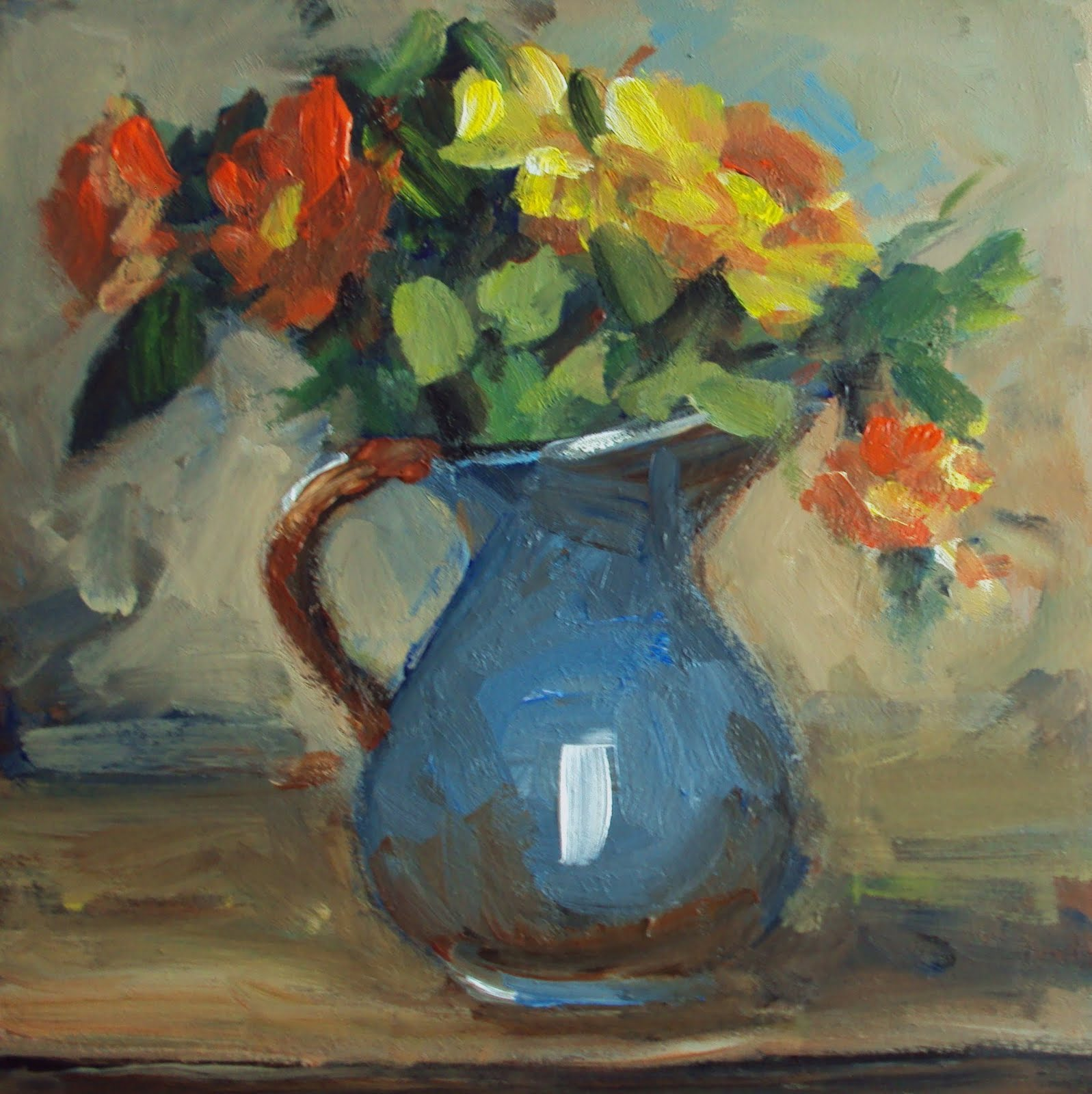 """daisy in a blue jug"" original fine art by Parastoo Ganjei"