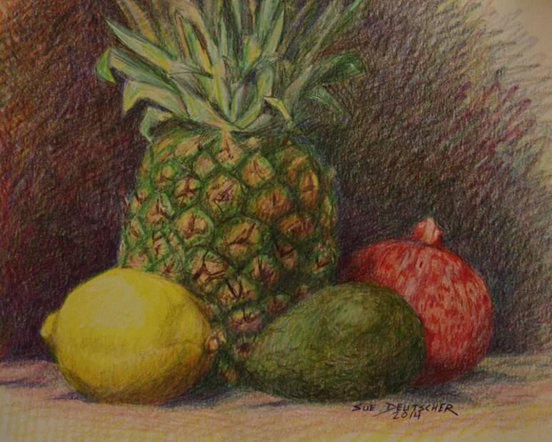 """Pineapple and Lemon and Avocado and that red fruit that starts with P"" original fine art by Sue Deutscher"