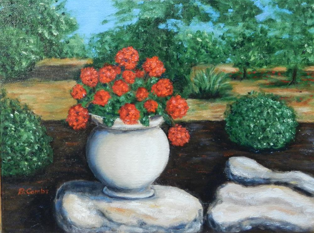 """Red Geraniums"" original fine art by Bebe Combs"