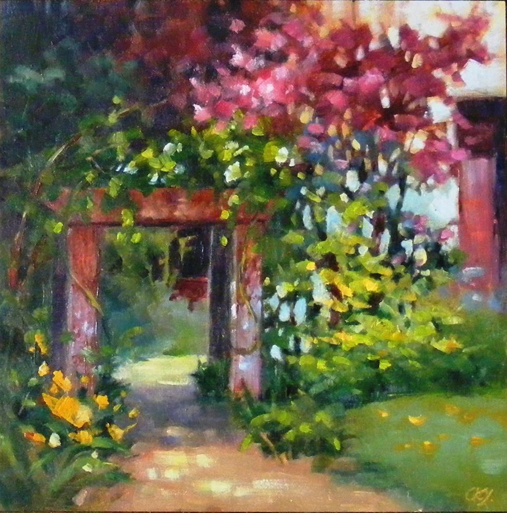 """Garden gate"" original fine art by Celine K.  Yong"