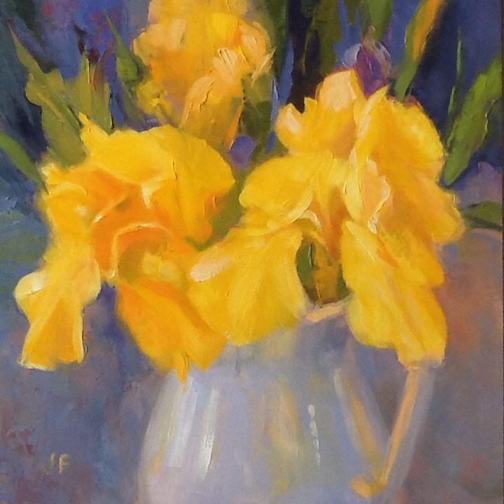 """""""Irises in a White Pitcher"""" original fine art by Jean Fitzgerald"""