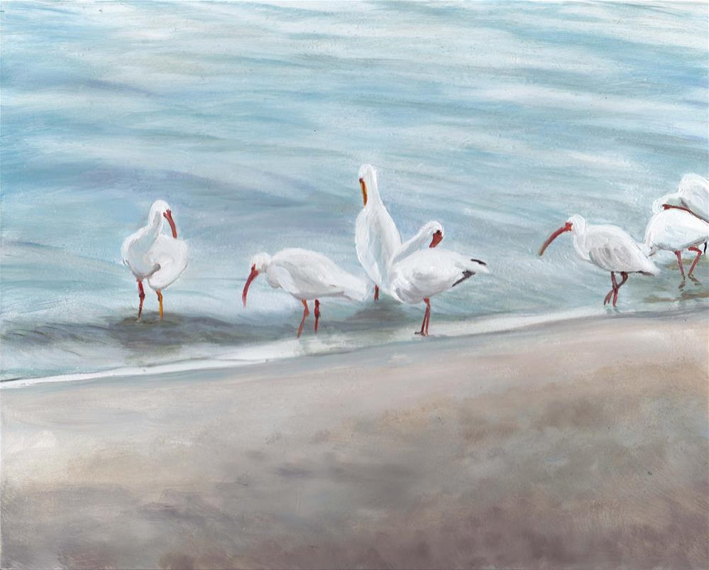 """White Ibis Wading"" original fine art by Charlotte Yealey"