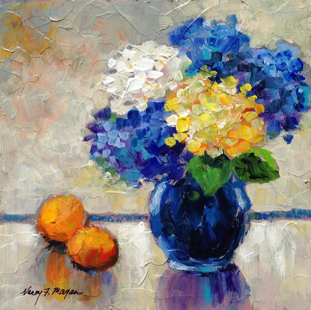 """Blue Hydrangeas"" original fine art by Nancy F. Morgan"