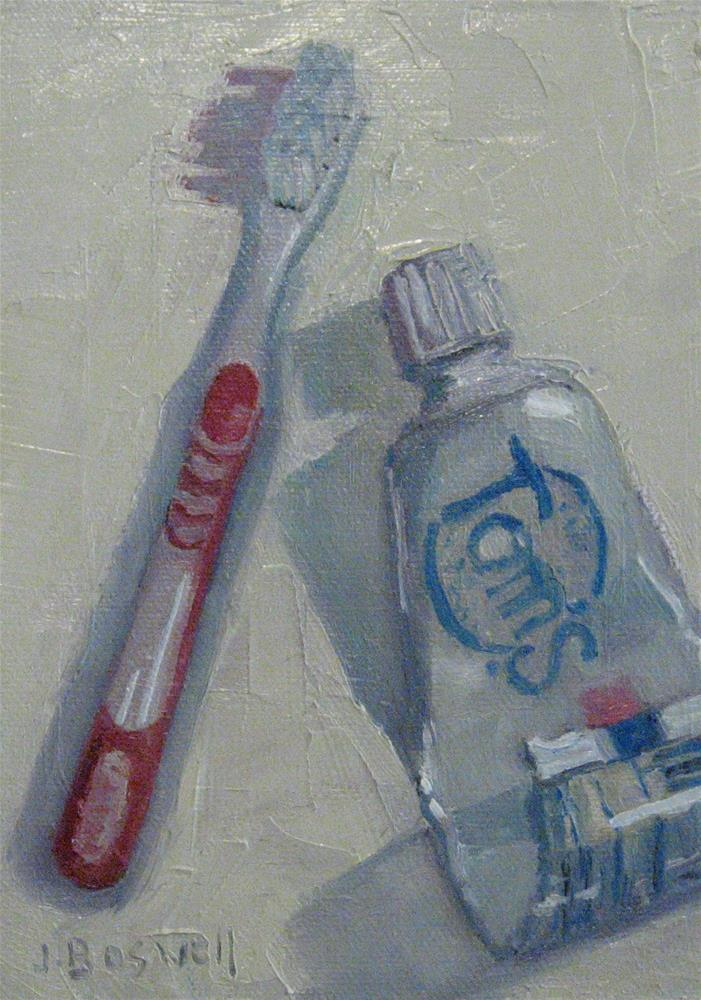 """Toothbrush and Toothpaste"" original fine art by Jennifer Boswell"
