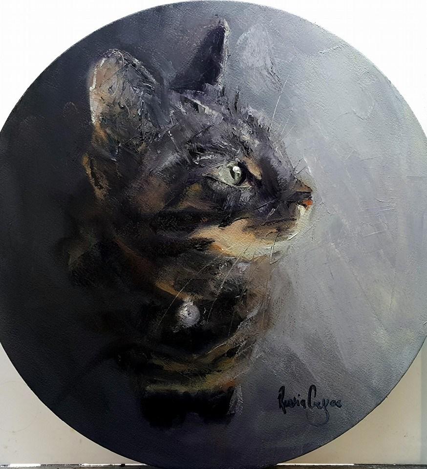 """My cat Amy"" original fine art by Rentia Coetzee"