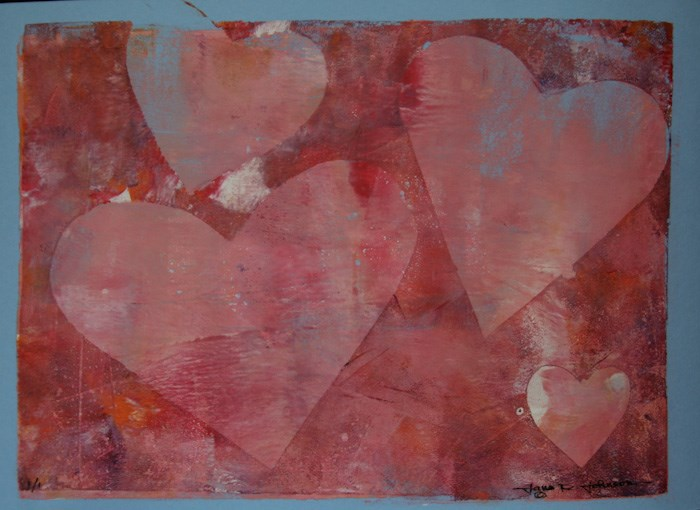 """Heart Monotype 2"" original fine art by Jana Johnson"
