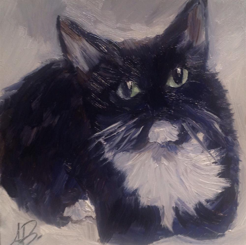 """Tuxedo cat"" original fine art by Annette Balesteri"
