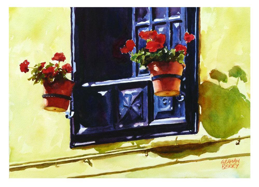 """Two red geraniums."" original fine art by Graham Berry"